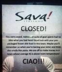 Sava's closed note