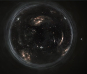 The Endurance orbits the wormhole in Interstellar.
